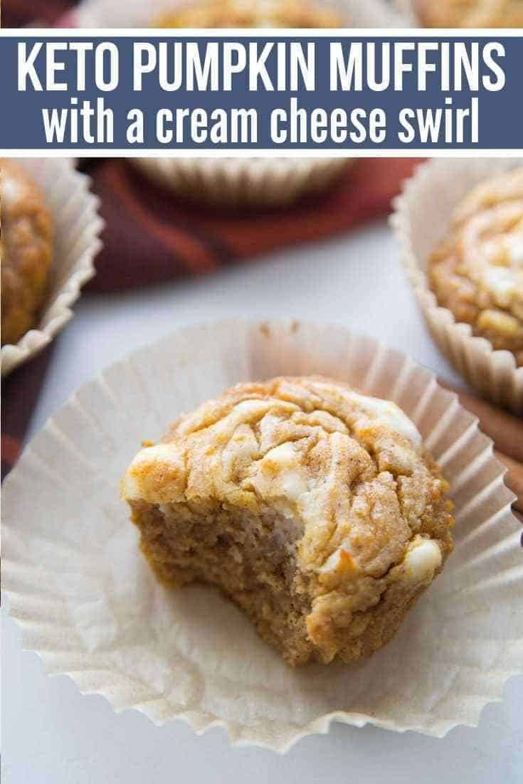 Keto Pumpkin Muffins with Cream Cheese Swirl {Low Carb}