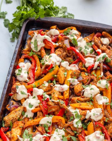 sheet pan keto chicken fajitas on a sheet pan