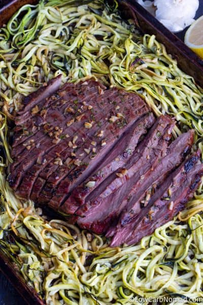 cooked sheet pan oven baked steak recipe with zucchini noodles on a baking sheet