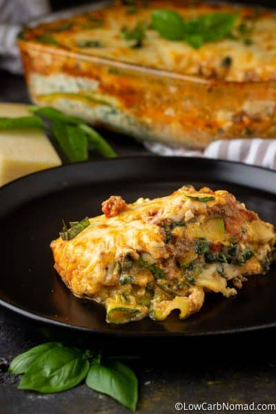Serving of Zucchini-Lasagna served on a black plate