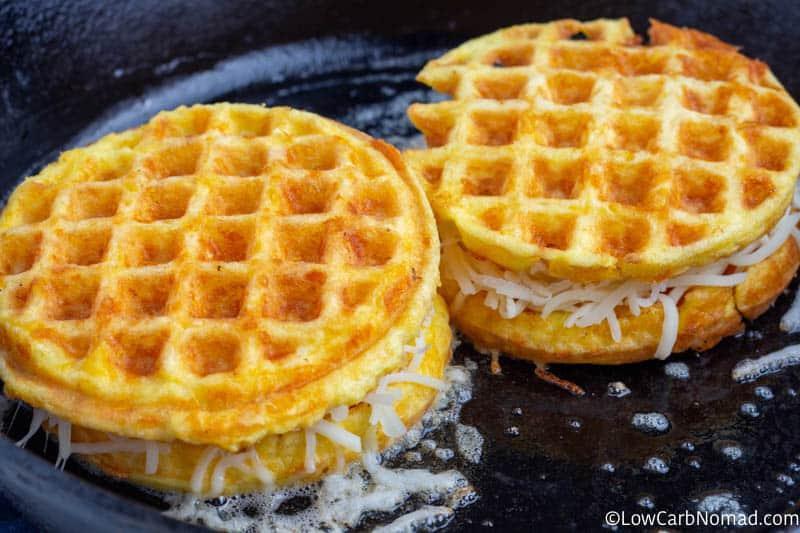 chaffles frying in a pan