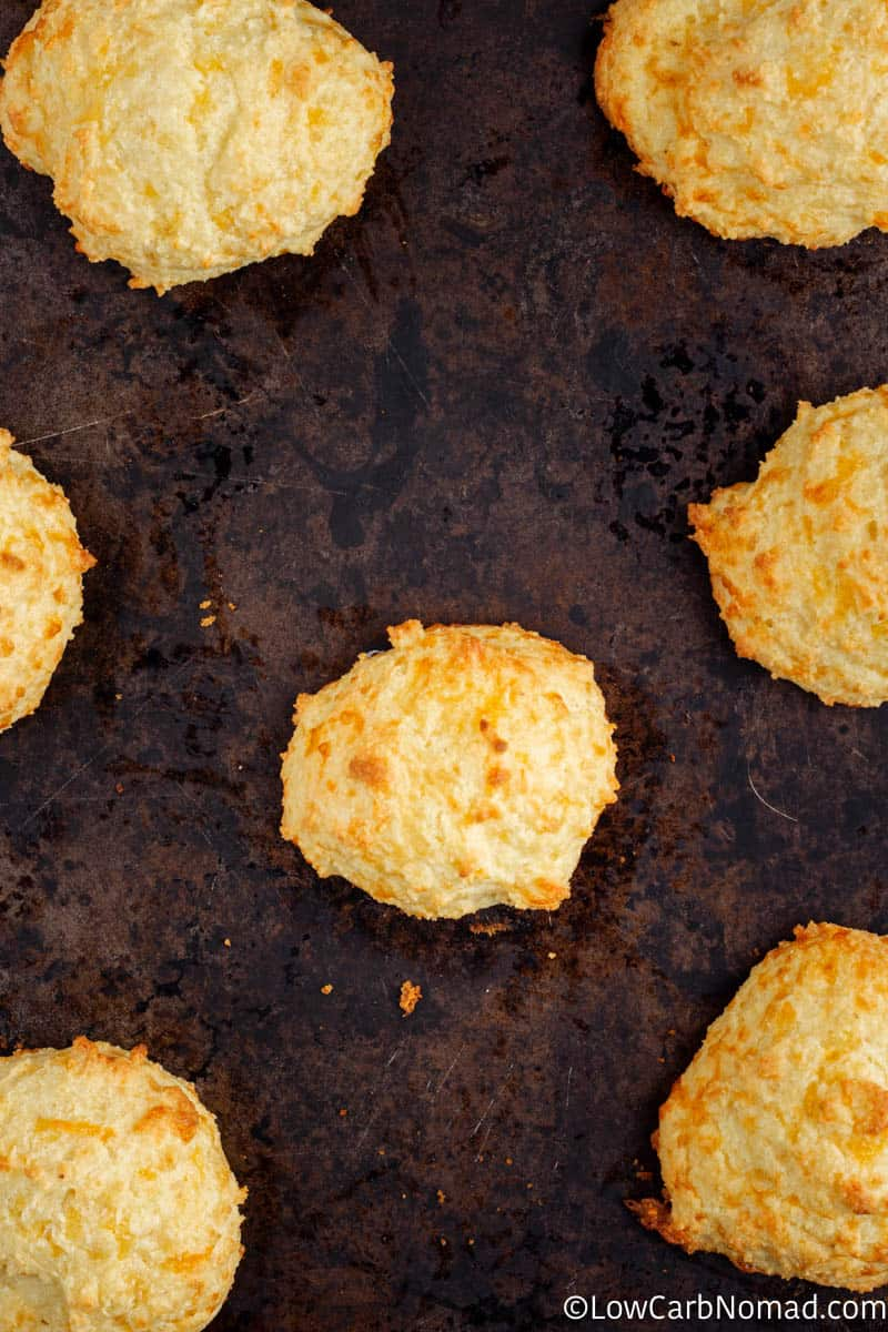 close up overhead view cheddar biscuit