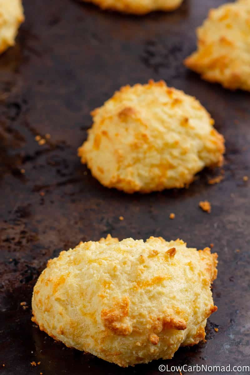 close up view of a cheddar biscuit