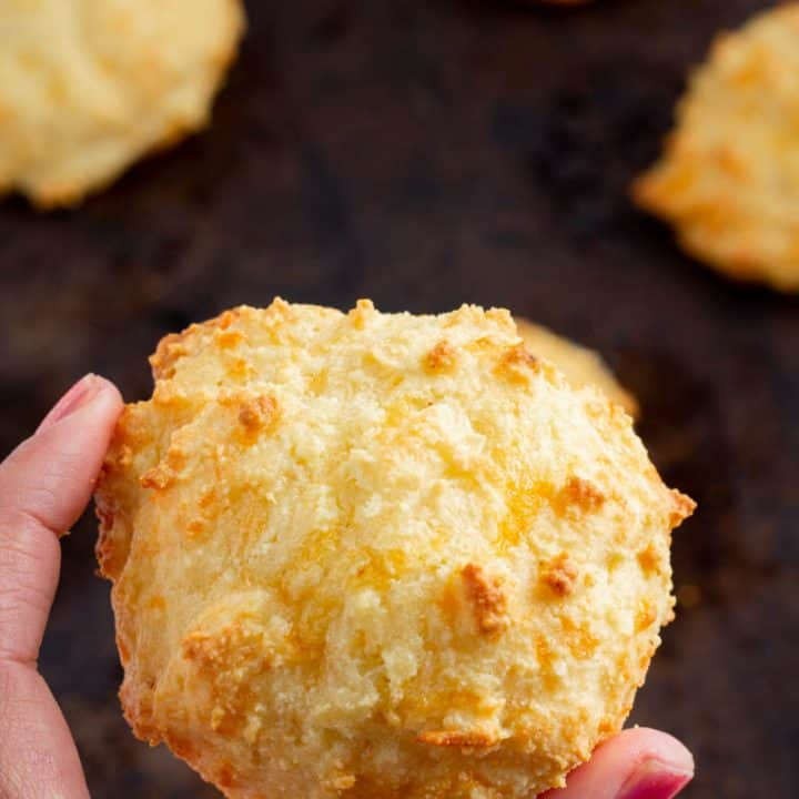 fresh baked Keto Cheddar Biscuits