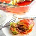 Low Carb cabbage rolls on a plate