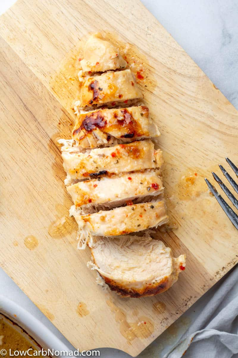 Low Carb italian Chicken on a cutting board
