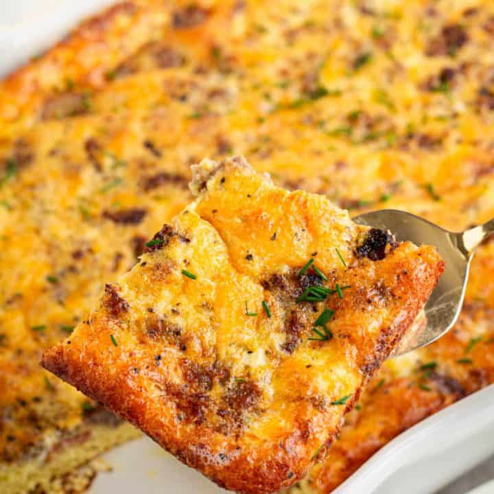 Egg, Bacon, sausage and cheese Low Carb breakfast casserole