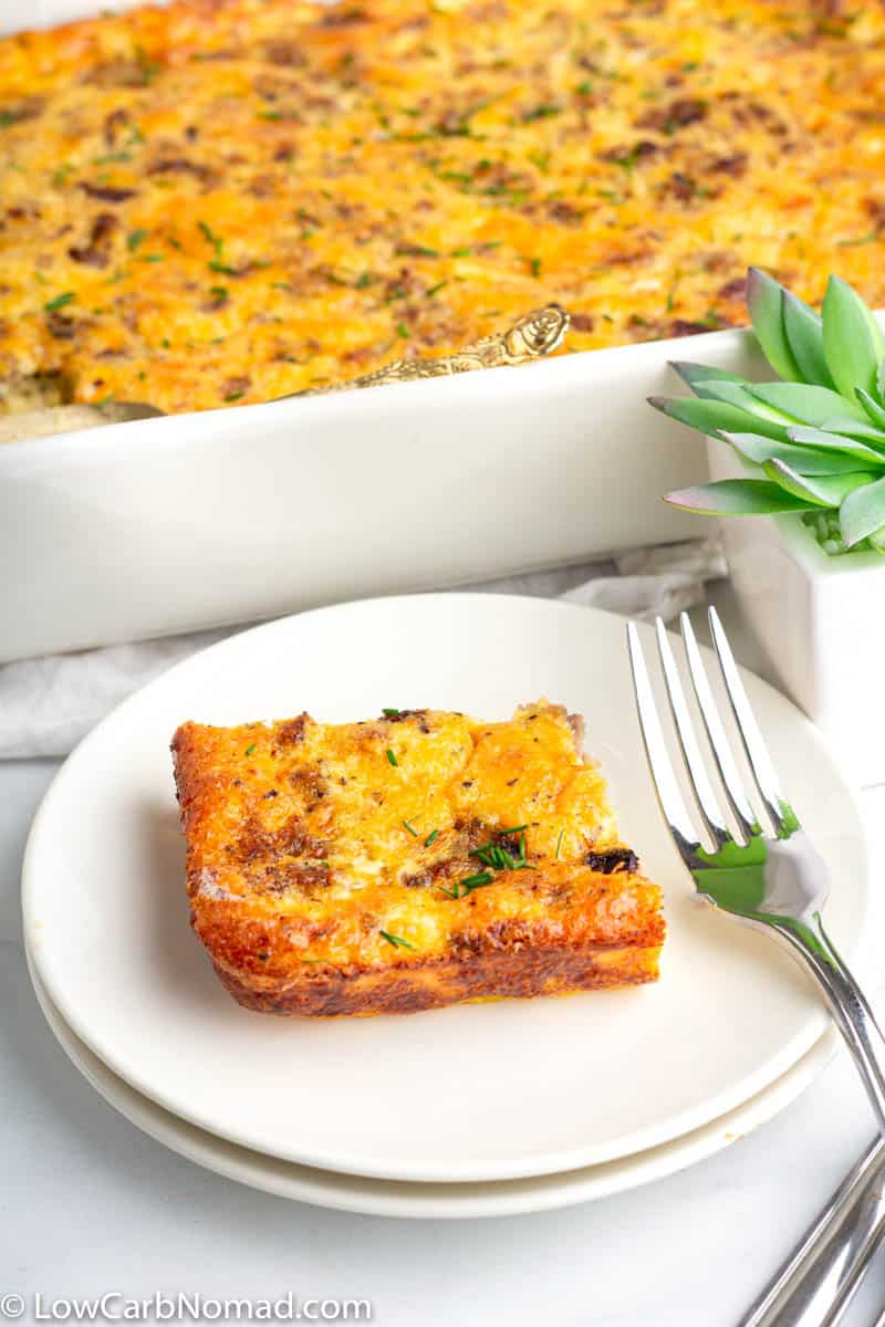 Low carb breakfast casserole on a plate
