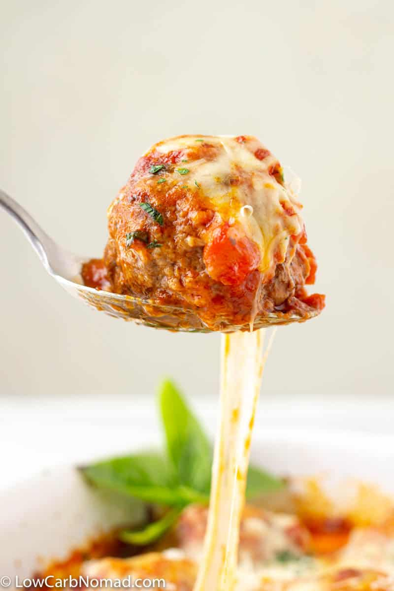Low Carb Meatball on a serving spoon.