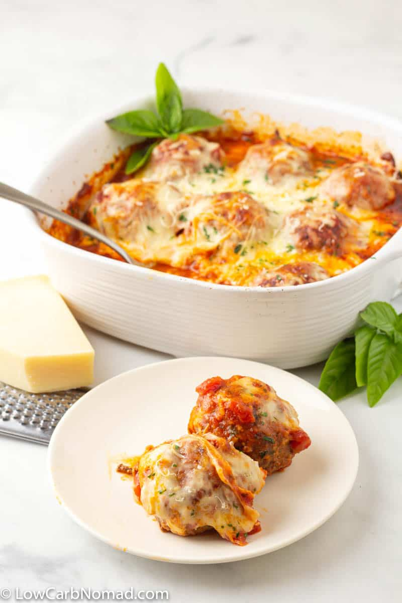 Low Carb Meatball casserole on a plate