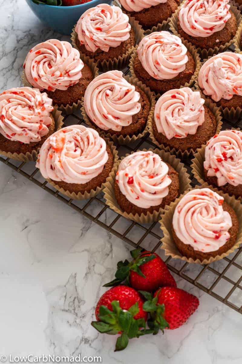 Low Carb Chocolate Cupcakes with Low Carb Strawberry Buttercream
