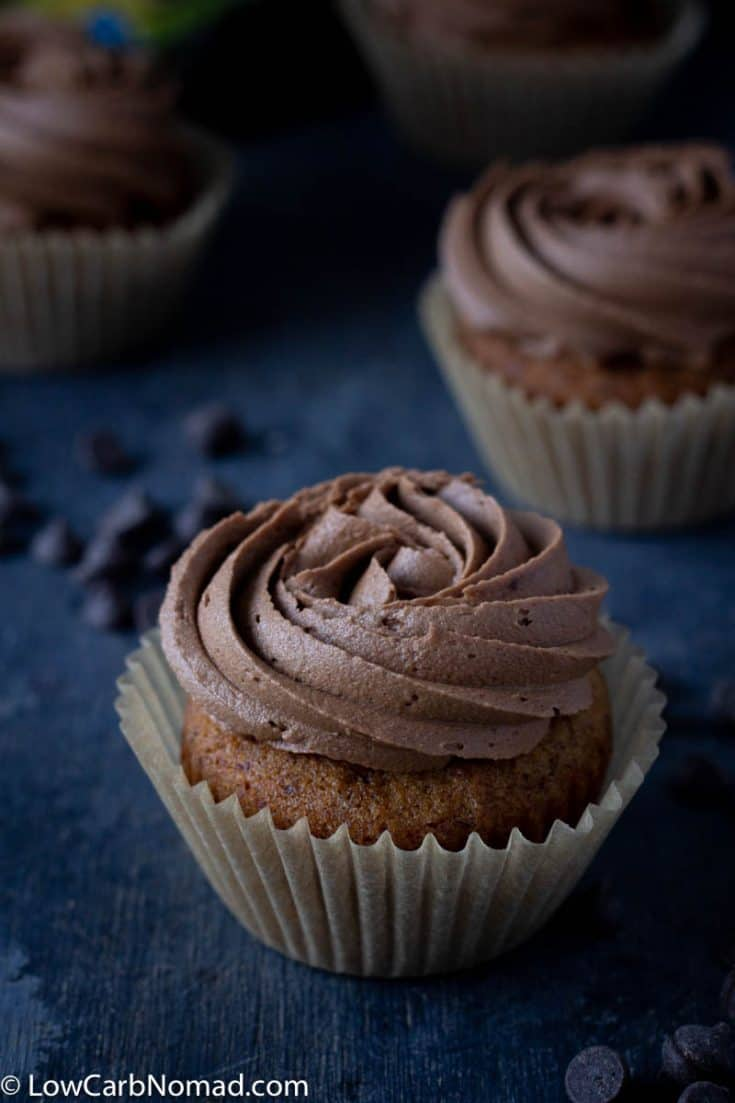 Vanilla Keto Cupcakes with Sugar Free Chocolate Buttercream Frosting