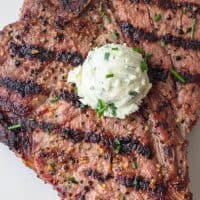 Grilled Steak with Blue Cheese and Chives Butter