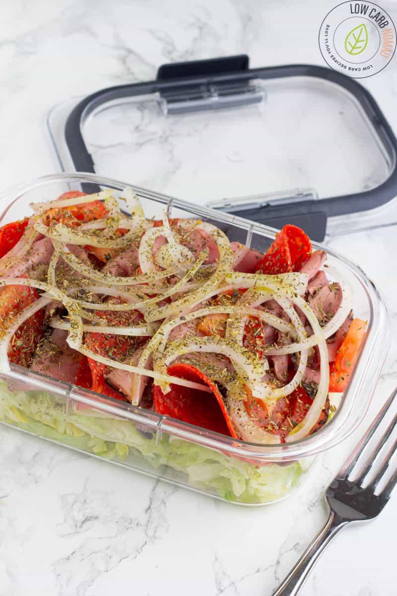 italian keto sandwich in a bowl