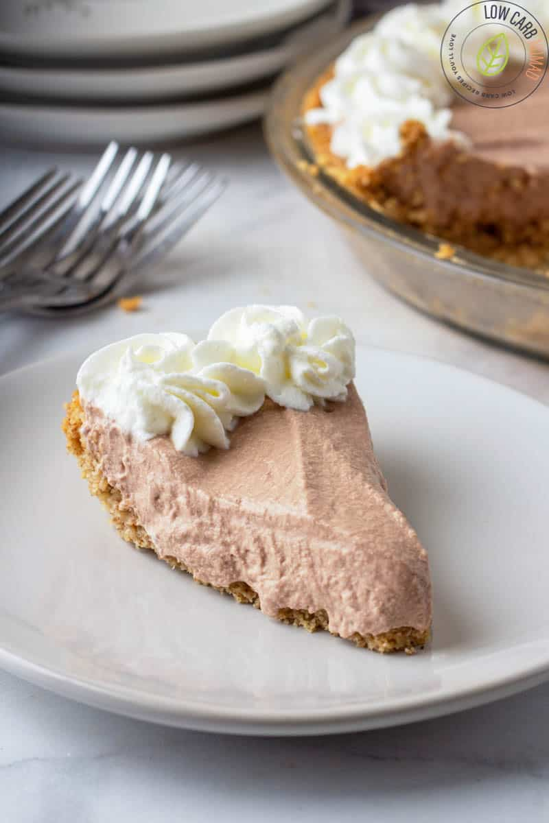 slice of low carb pie on a plate