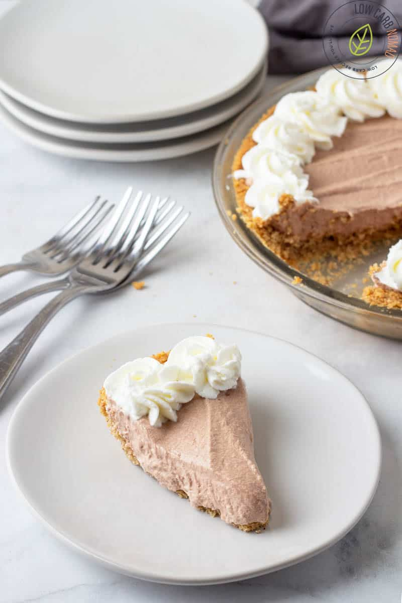 Chocolate Mousse Pie on a plate  with the pie in the background