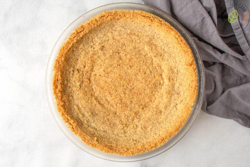 sugar free pie crust baked in a pie pan