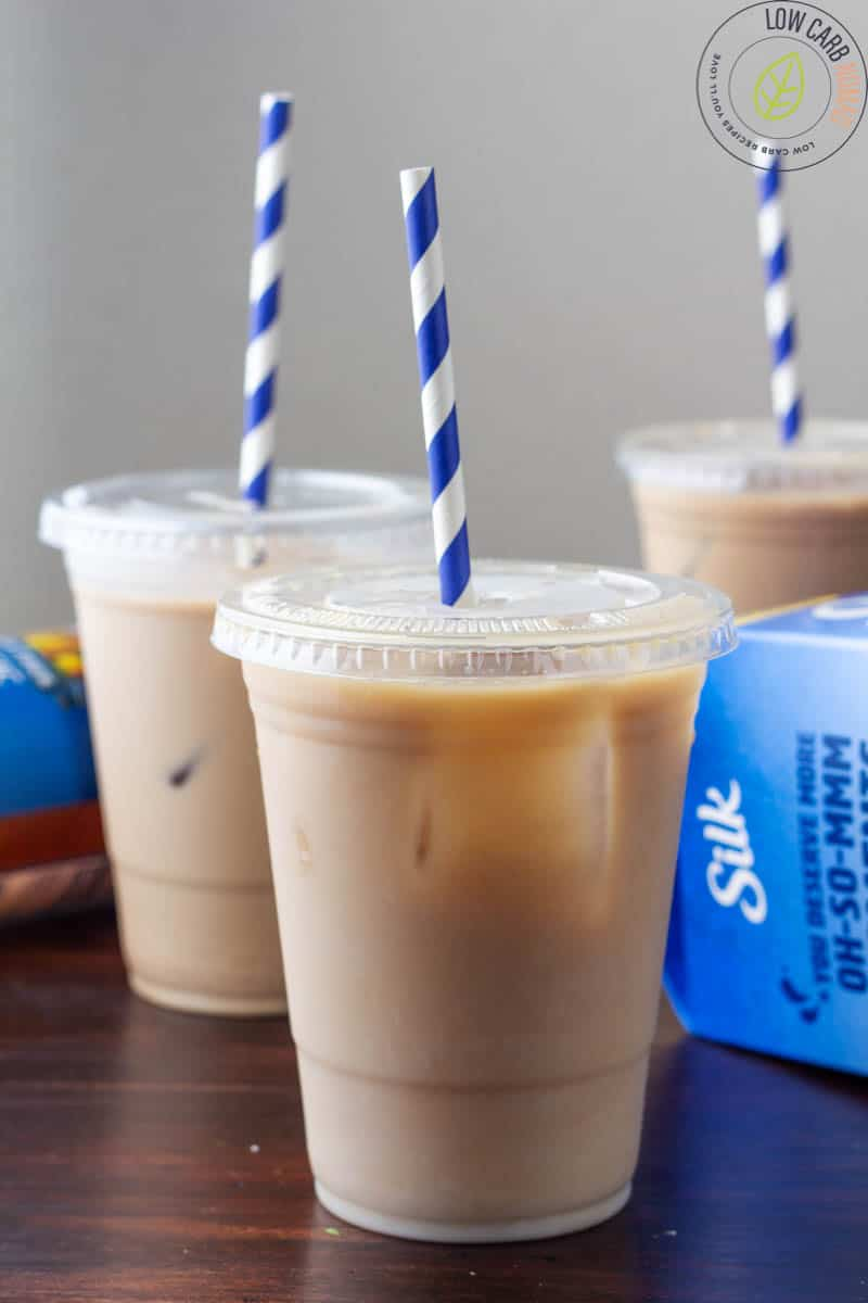 low carb iced coffee in a plastic cup