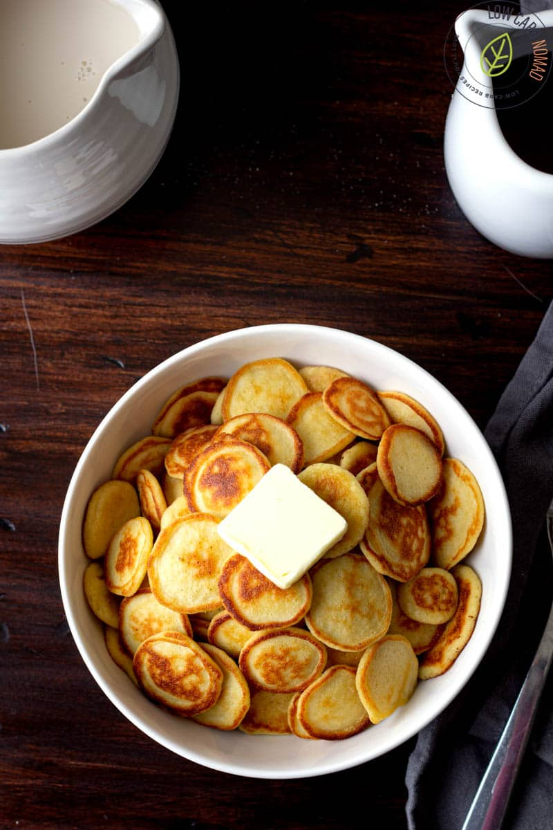 Mini Pancakes with coconut flour in a bowl with butter