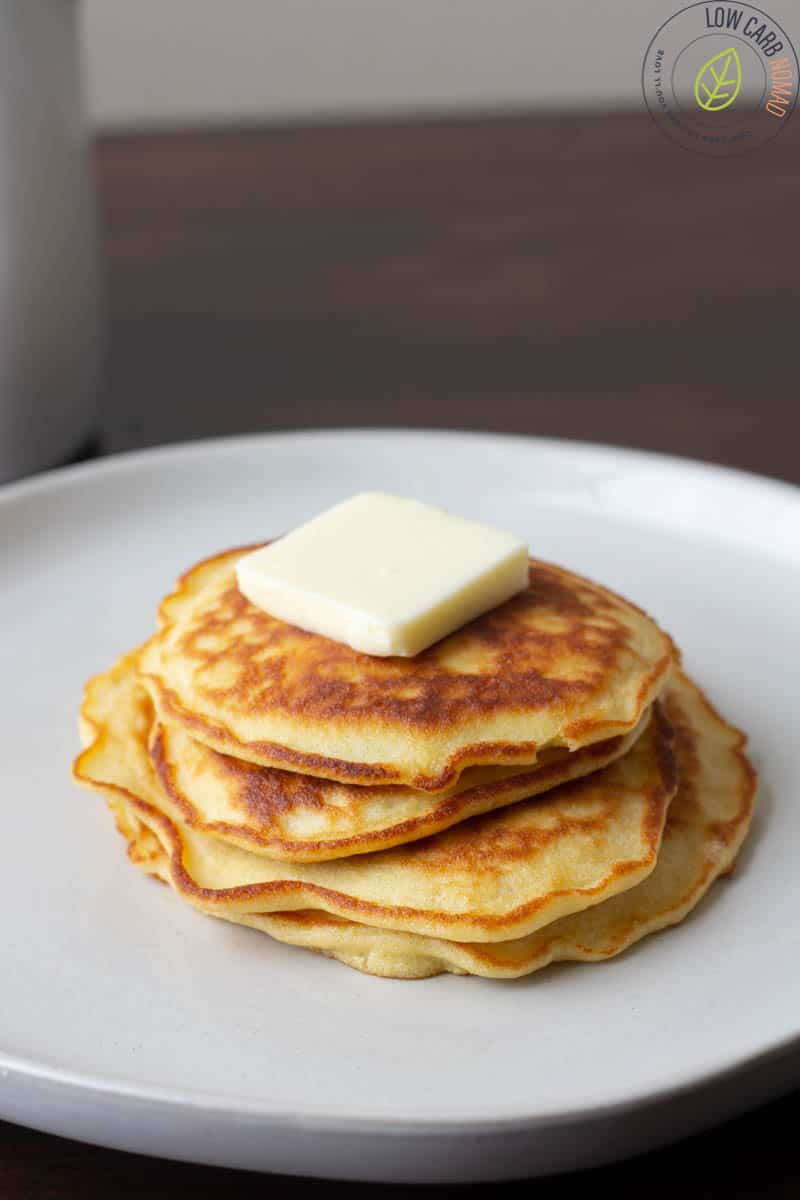 3 keto pancakes on a plate