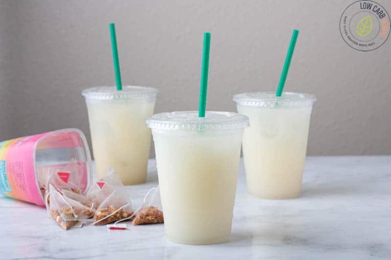 Keto Starbucks Pina Colada drink in a plastic cup