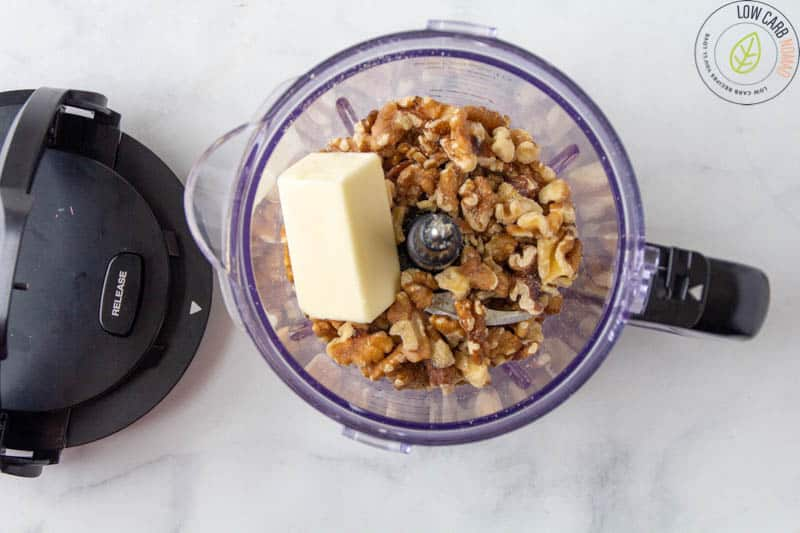 walnuts and butter in a food processor