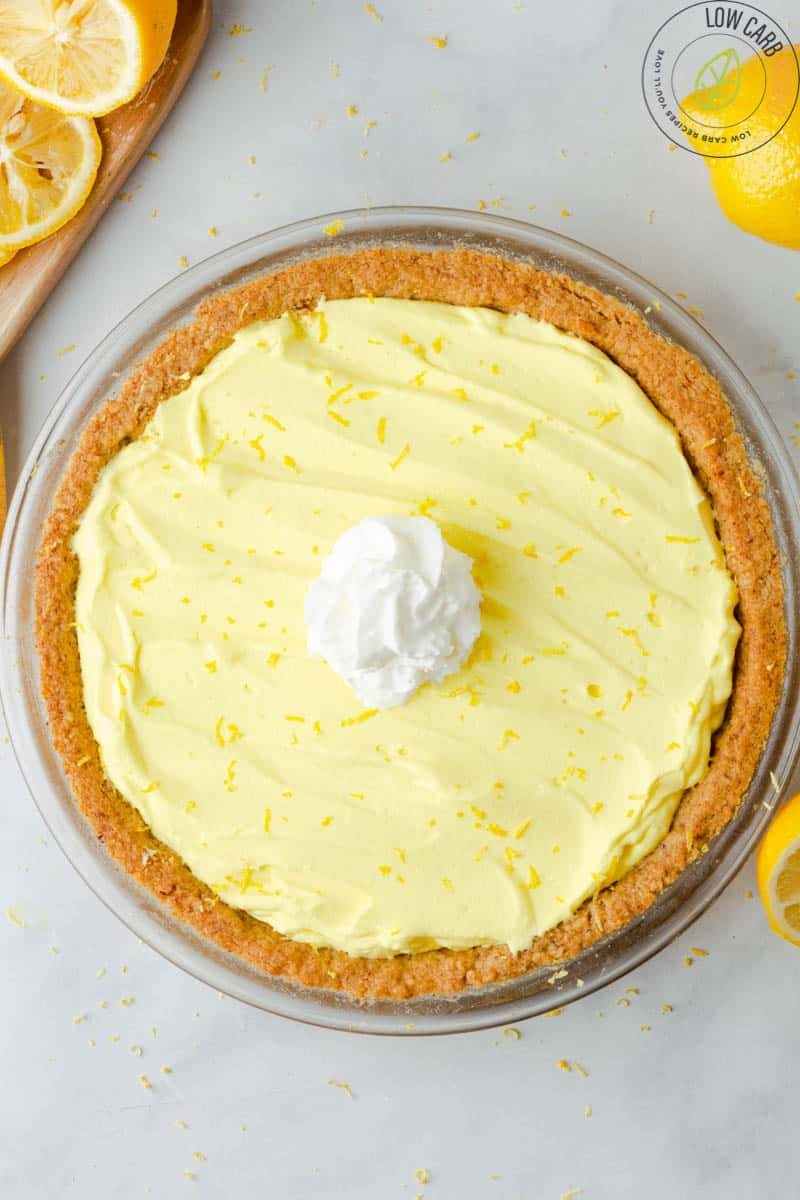 Low Carb Lemon pie with walnut crust
