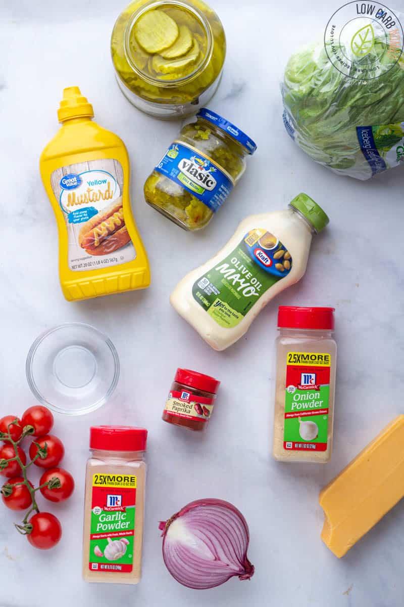 Keto Big Mac Salad ingredients