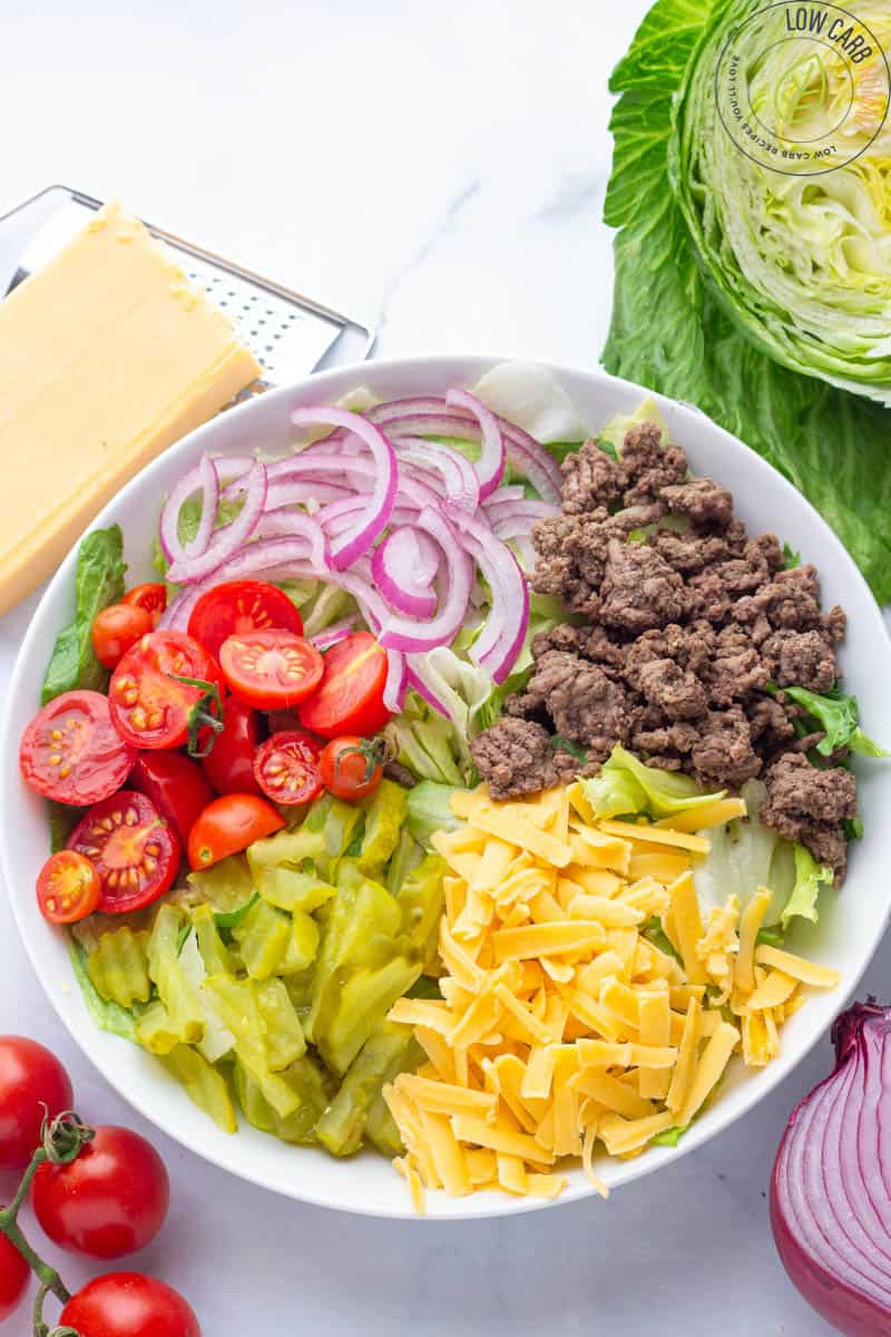 Keto Big Mac Salad without dressing