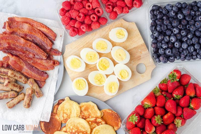 Keto Breakfast Charcuterie Board ingredients