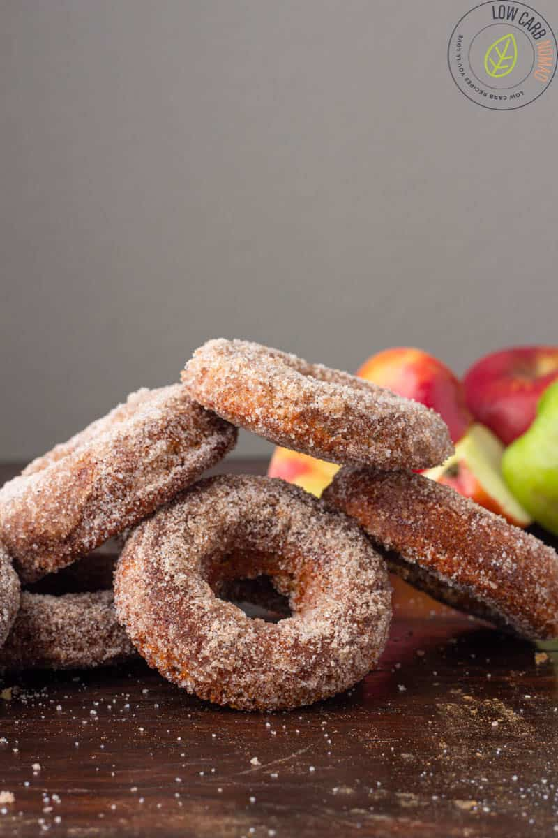 Low carb Keto Apple Donuts in a piile
