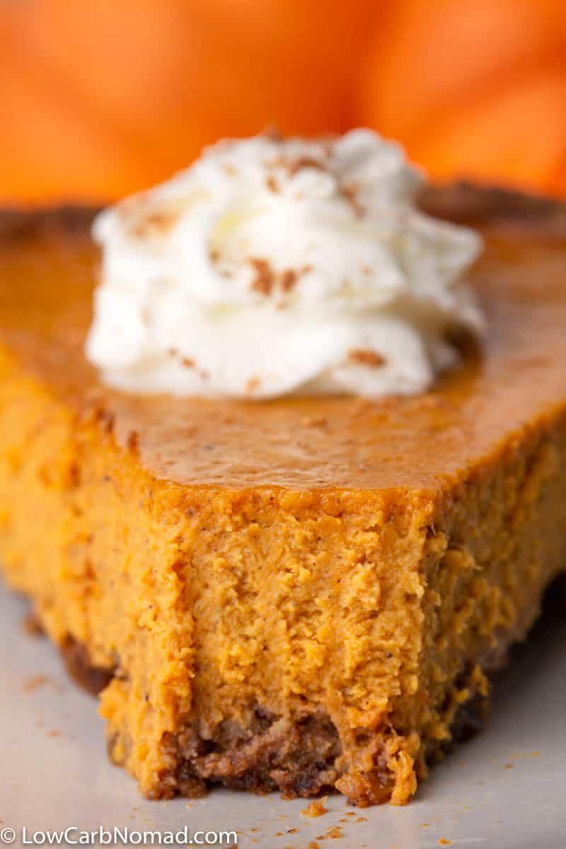 slice of low carb Pumpkin Pie Recipe