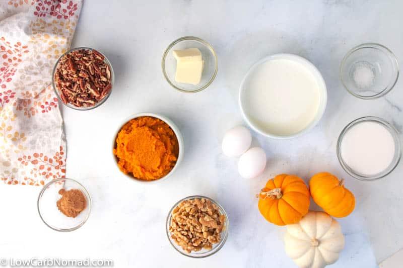 Keto Pumpkin Pie Recipe ingredients