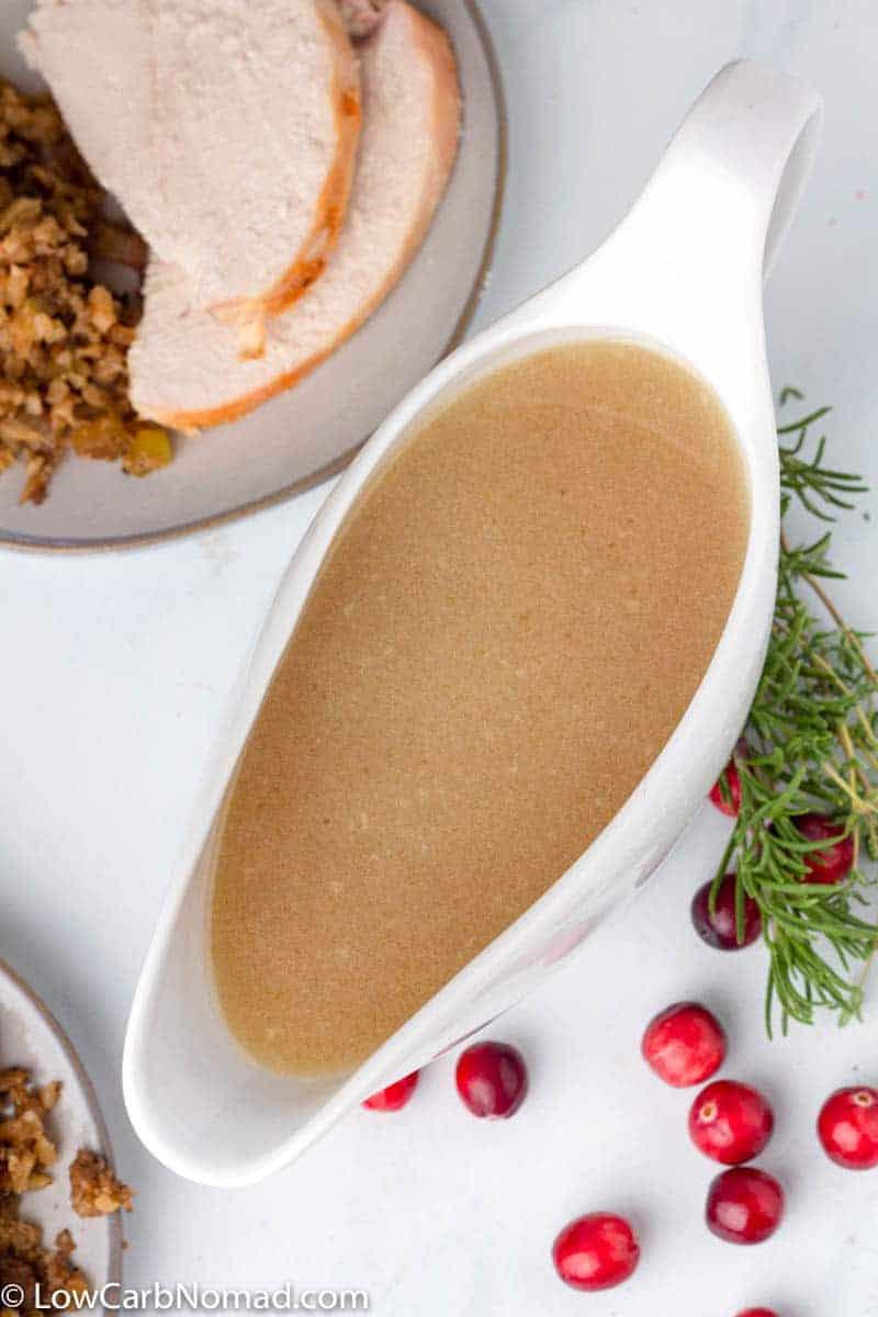 Keto Turkey Gravy in a gravy dish