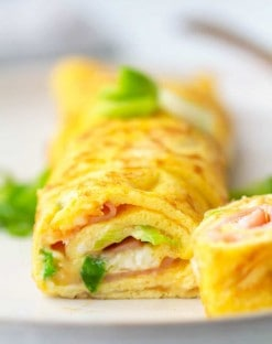 Ham and cheese rolled keto omelet
