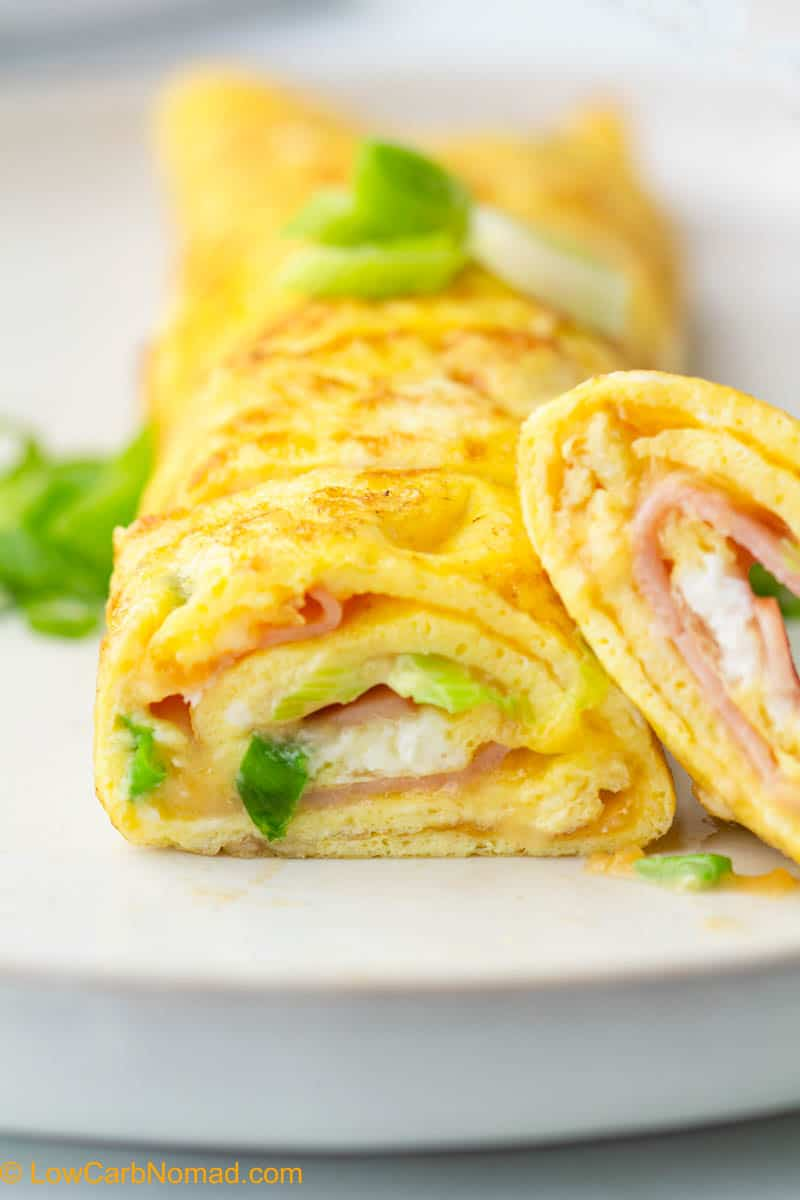 Ham and cheese rolled omelet