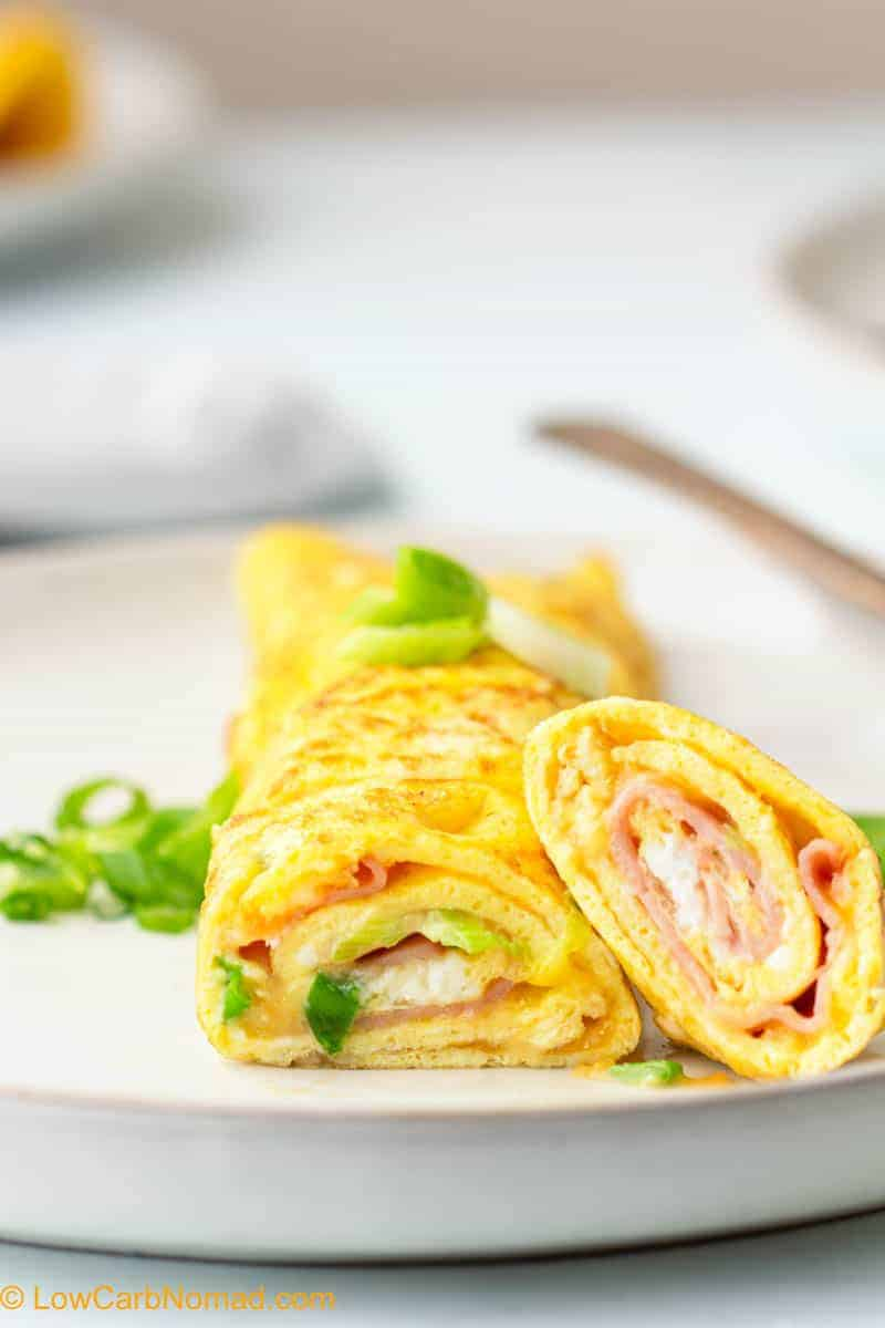 Ham and cheese rolled low carb omelet