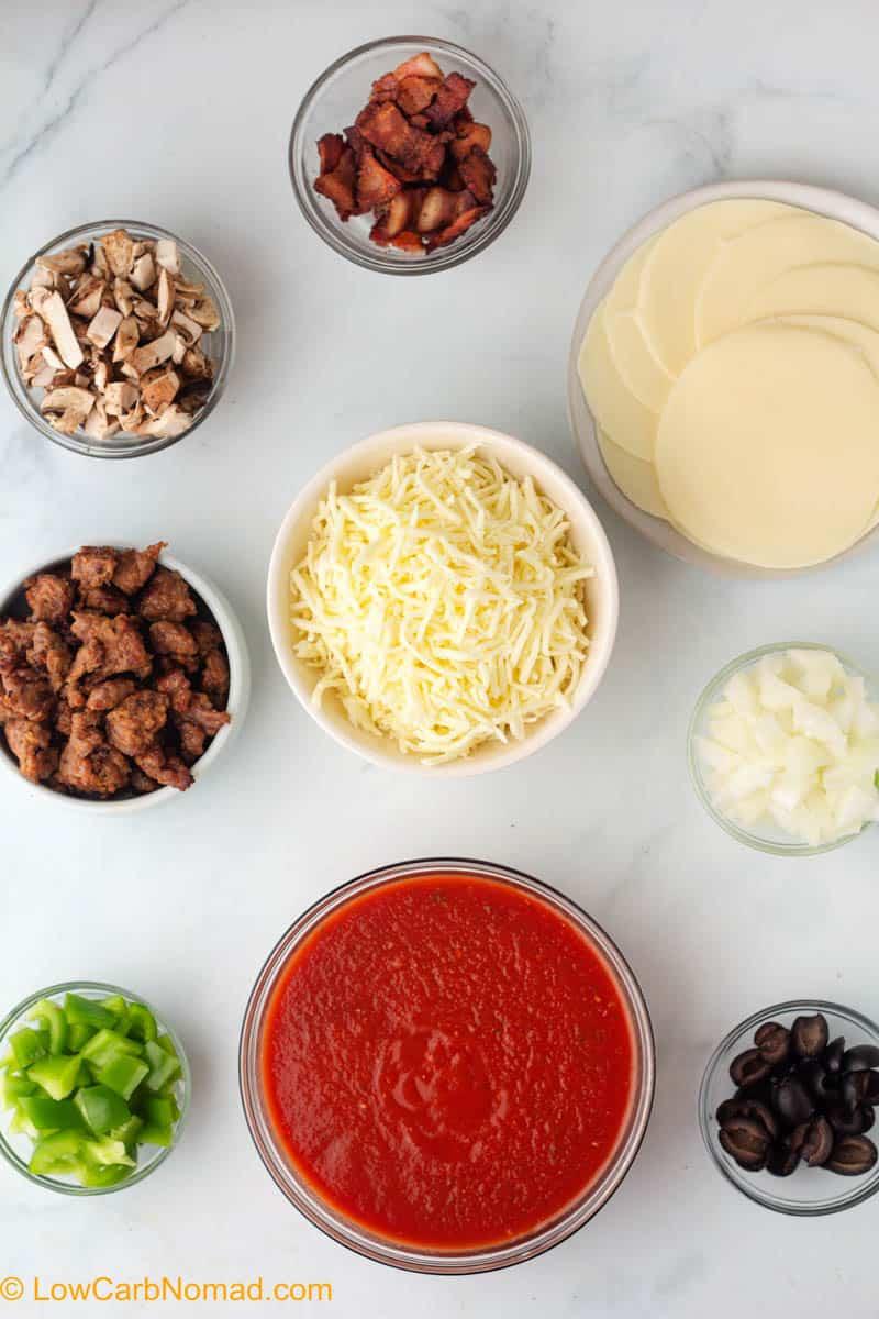Keto Crustless Deep Dish Pizza ingredients