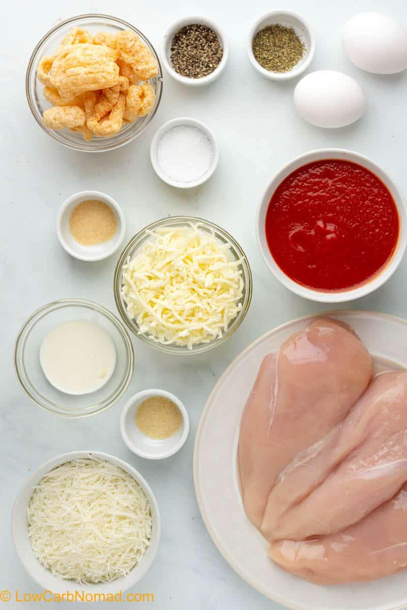 Low Carb Keto Chicken Parmesan ingredients