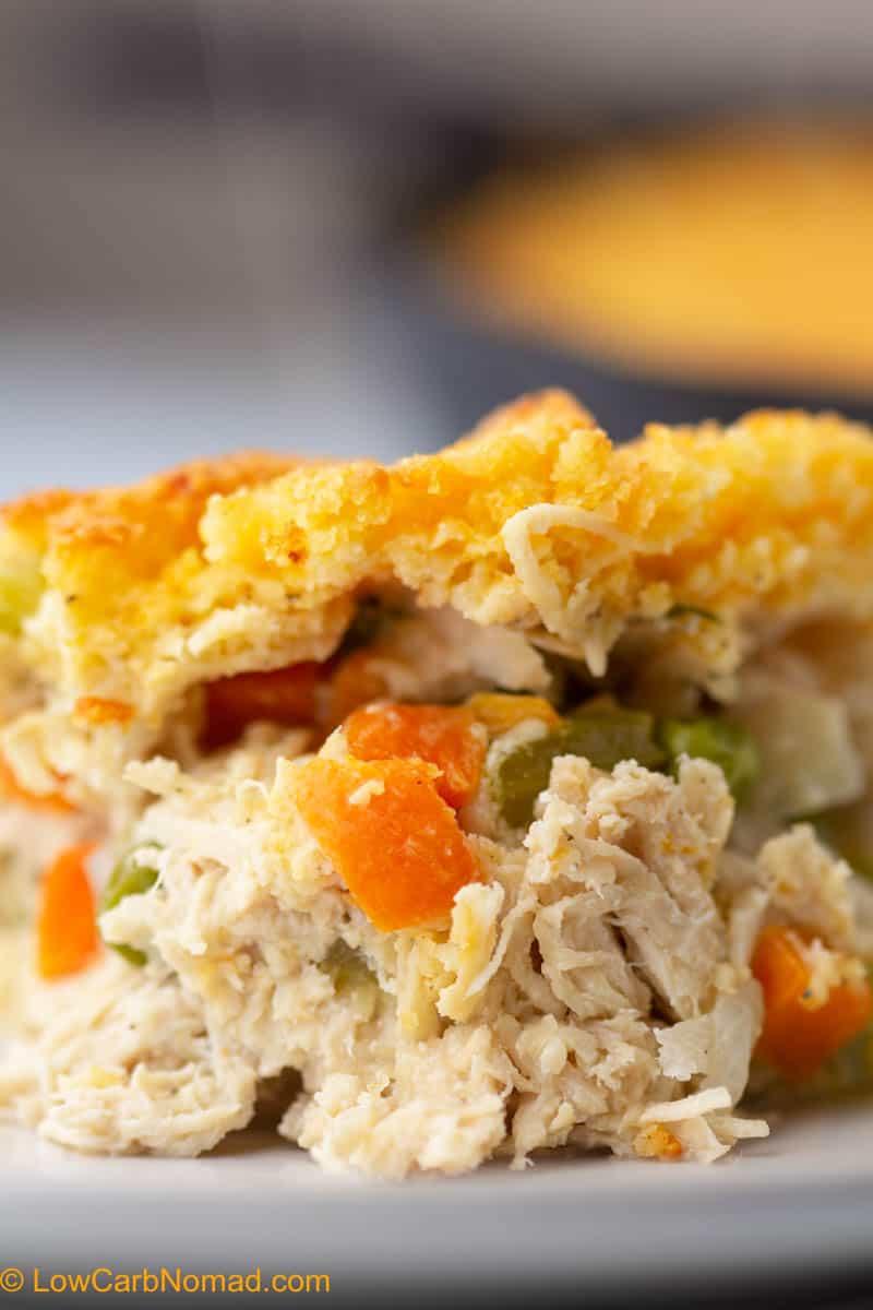 Close up shot of keto chicken pot pie