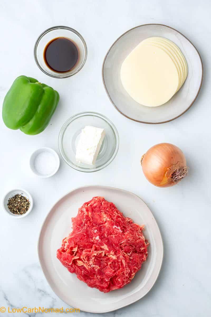 Philly Cheesesteak Casserole ingredients