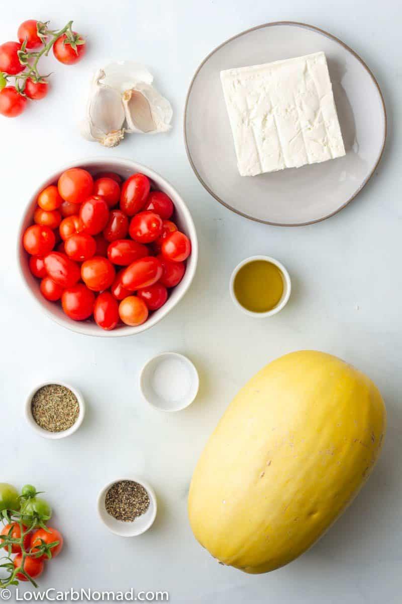 Feta and Tomato Spaghetti Squash ingredients