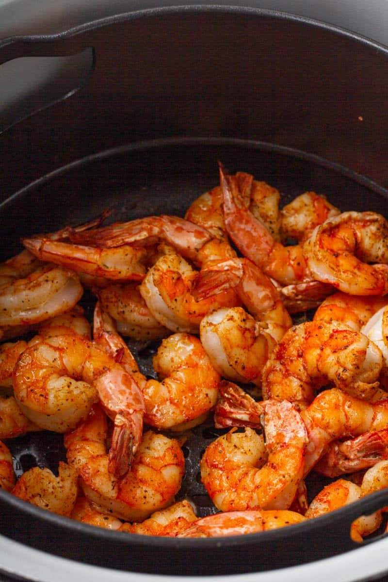 close up of shrimp in an air fryer