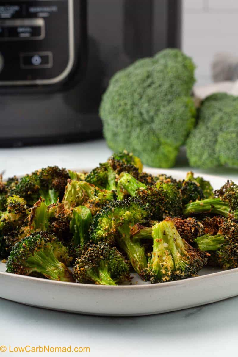 close up photo of broccoli cooked in the air fryer