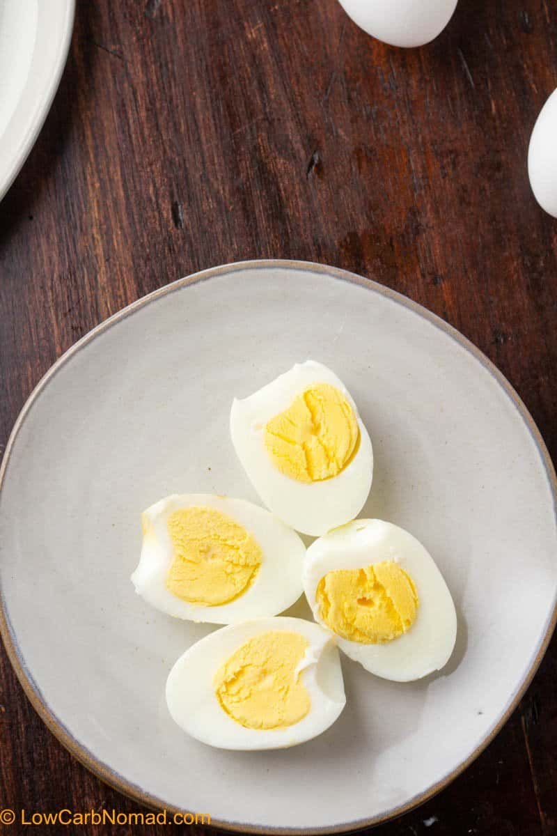 over head photo of Air Fried hard boiled eggs on a plate