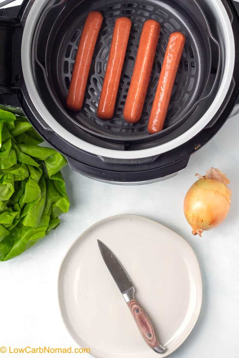 uncooked hot dogs in air fryer