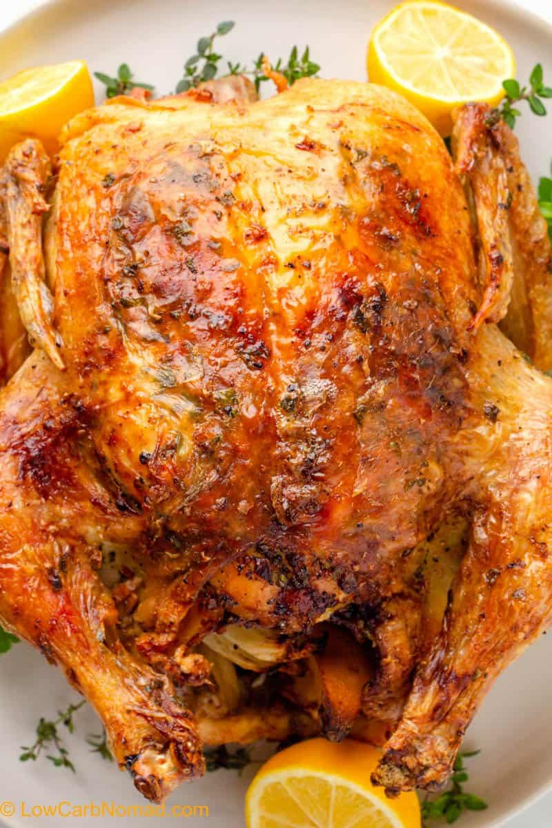 Air Fryer Whole Chicken on a plate close up