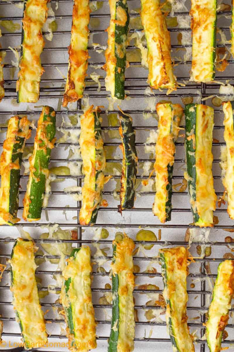 Baked low carb Zucchini Fries on a baking sheet