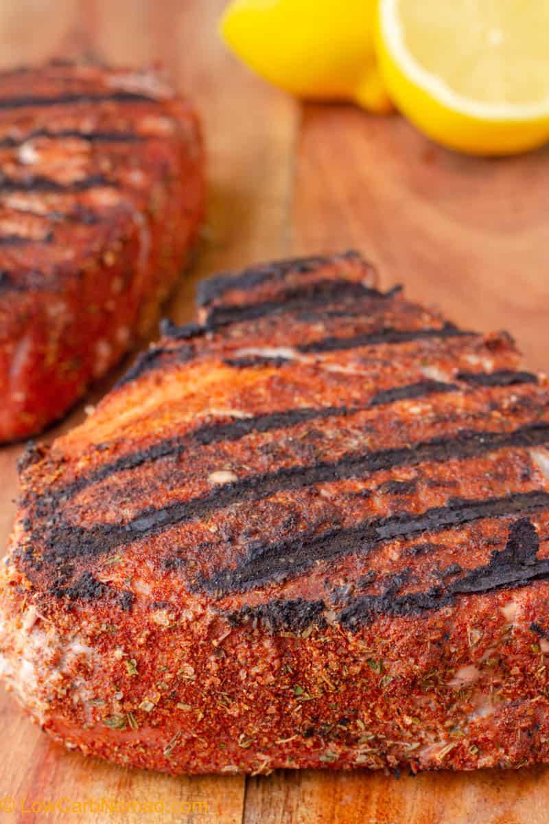Grilled Tuna Steaks close up photo