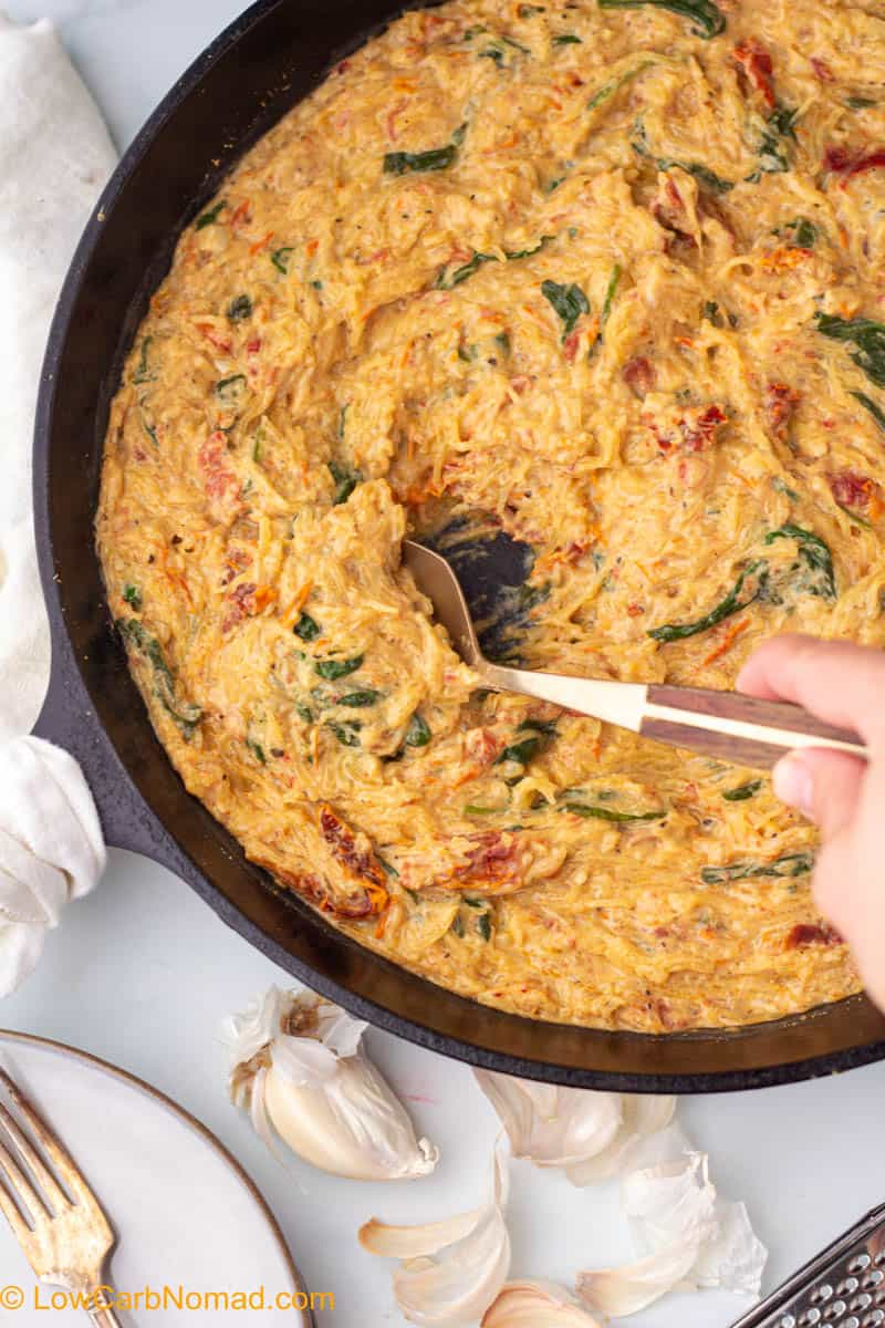 Sun Dried Tomatoes and Spinach Spaghetti Squash